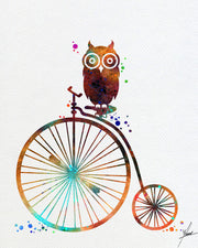 Old Bike Owl Watercolor illustrations Art Print Wall Art Poster Giclee Wall Decor Art Home Decor Wall Hanging Item218