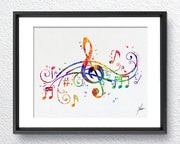Musical Note Art Prin Watercolor illustrations Art Print Wall Art Poster Giclee Wall Decor Art Home Decor Wall Hanging, Item 221