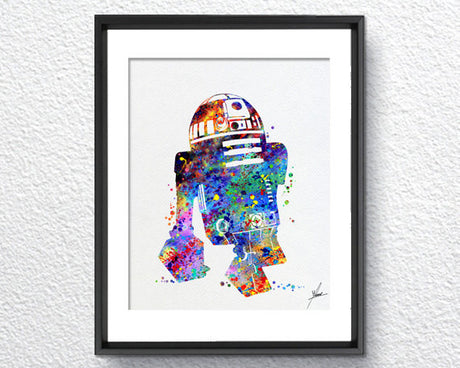Star Wars R2D2 Watercolor illustrations Wall Art Poster  Wall Decor Art Home Decor Wall Hanging Item 224