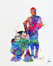 Star Wars R2D2 and C-3PO Watercolor illustrations Wall Art Poster  Wall Decor Art Home Decor Wall Hanging Item 225