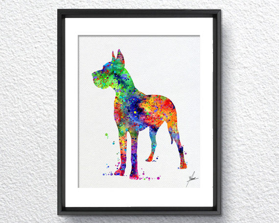 Great Dane Art Print - Watercolor illustrations - Wall Art Poster - AbstractWall - Abstract - Decor - Art Home Decor - Wall Hanging Item 228