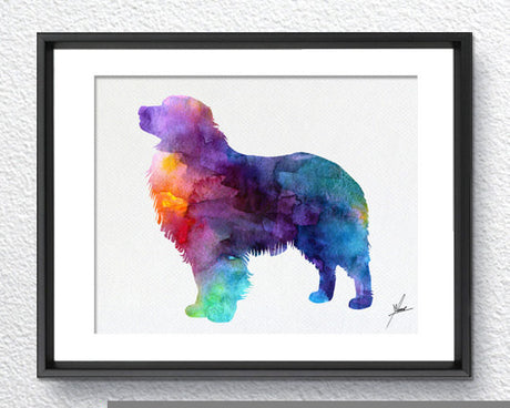 Australian Shepherd Print - Watercolor illustrations - Art Poster - AbstractWall - Abstract - Decor - Art Home Decor - Wall Hanging Item 232
