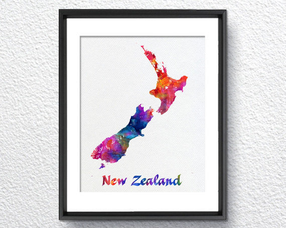 New Zealand Map, Watercolor Print, Art Print, Wall Art Poster, Wall Decor, Art Home Decor, Wall Hanging Item 238