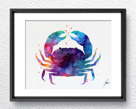 Blue Crab Watercolor Print Giclee print Gift Wall Hanging Decor Wall Art Wall Decor Item 239