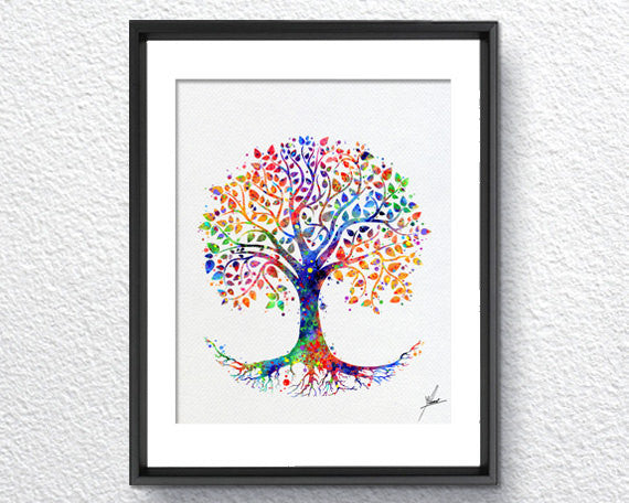 Tree of Life Watercolor Print Wedding Gift Archival Fine Art Print Wall Decor Art Home Nursery Art Decor Wall Hanging Item 242
