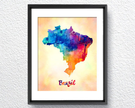 Brazil Map Watercolor Print - Item248