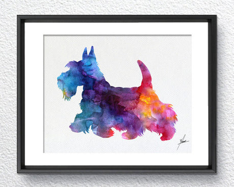 Scottish Terrier Print - Watercolor - Wall Art Poster - AbstractWall - Abstract - Decor - Art Home Decor - Wall Hanging Item 254
