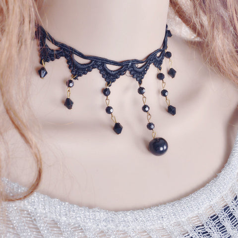 Vintage Steampunk Necklace Black Lace Beads Rhinestone Choker Collar Necklace Gothic Jewelry C678