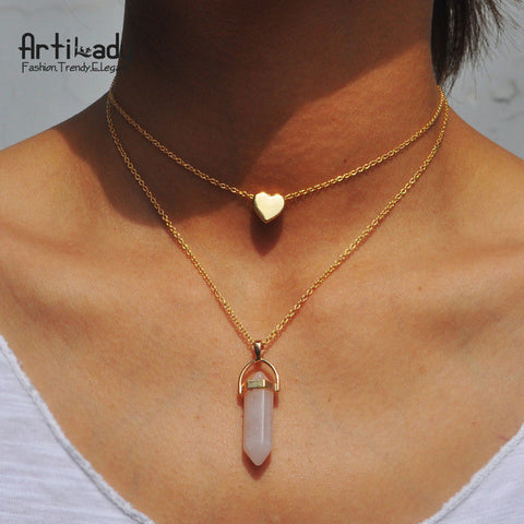 Artilady natural pink stone choker necklace fashion heart gold color 2 layers pendant necklace for women jewelry