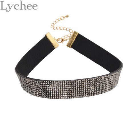 Lychee 1 piece Gothic Punk Silver Gold Rhinestone Choker Necklace 90s Leather Choker Collar Party Jewelry for Women