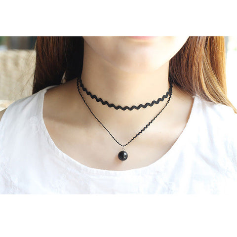 Imitation Pearls Lace Chokers Double Layer Sexy Short Wavy Necklaces Women Clavicle Chain Jewelry Simple Accessories