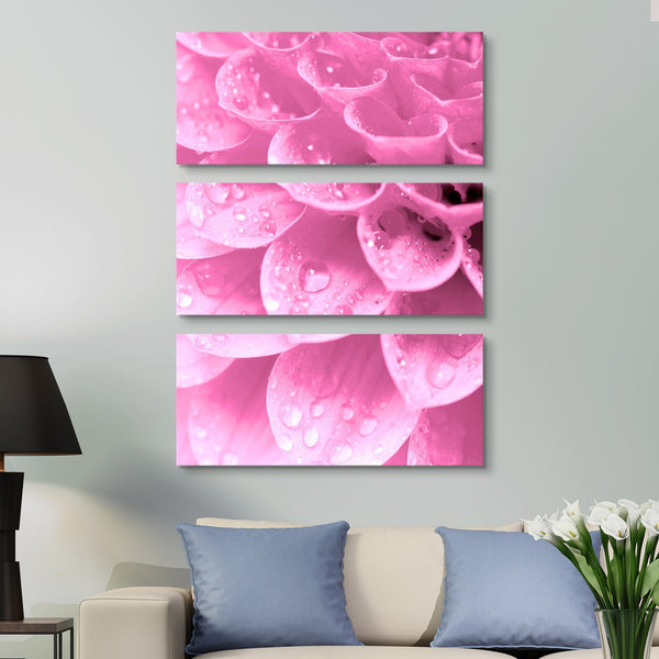3 piece Water Drops on Petals wall art