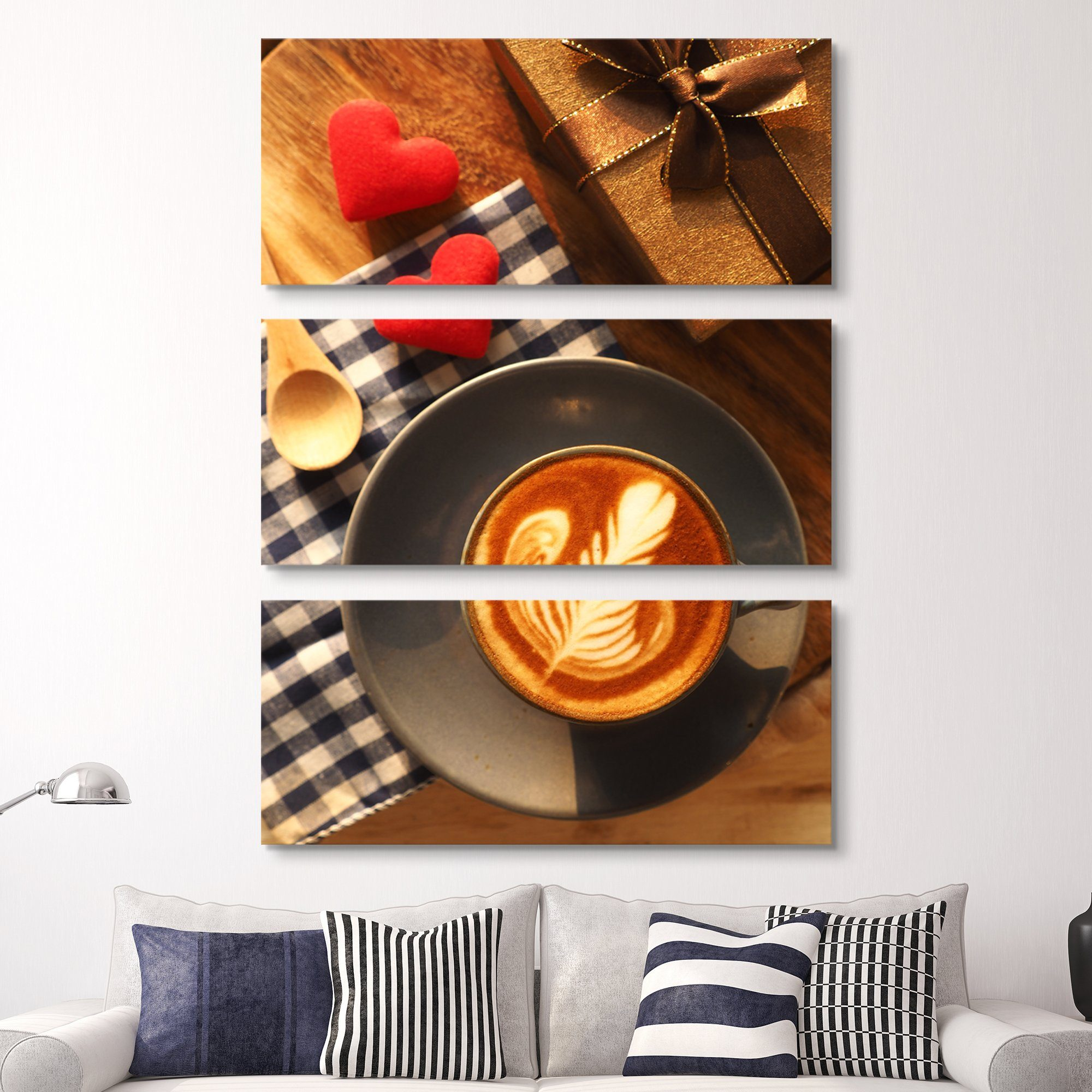3 piece Hearts and Coffee wall art
