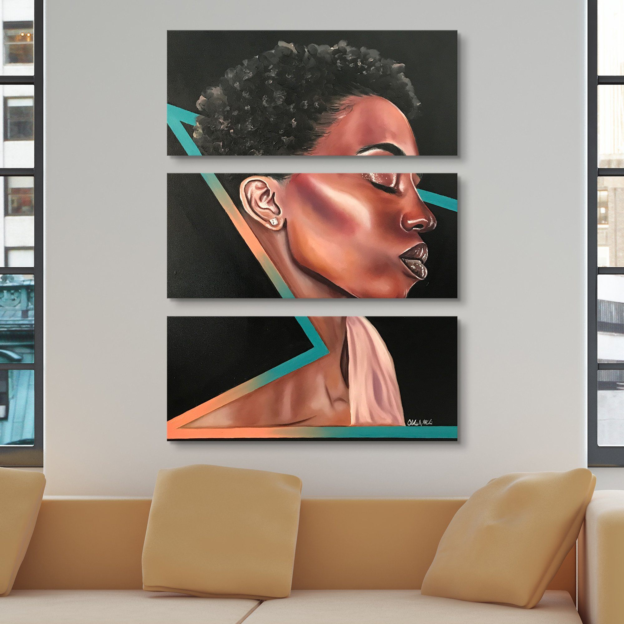 beautiful black woman abstract art