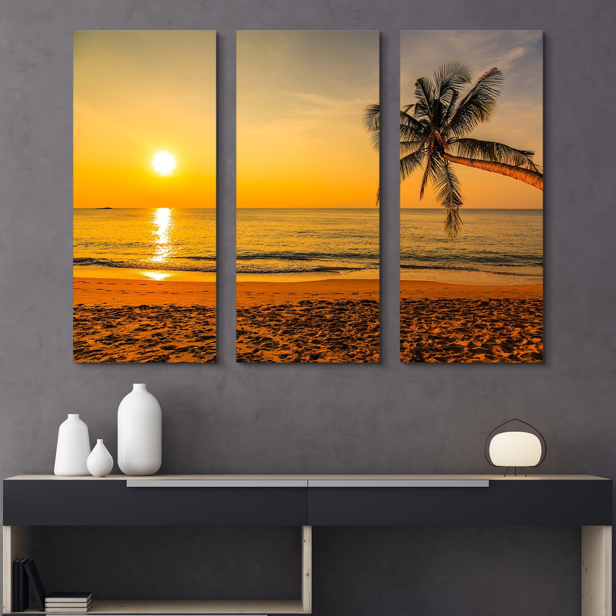 3 piece Sunset by the Beach wall art