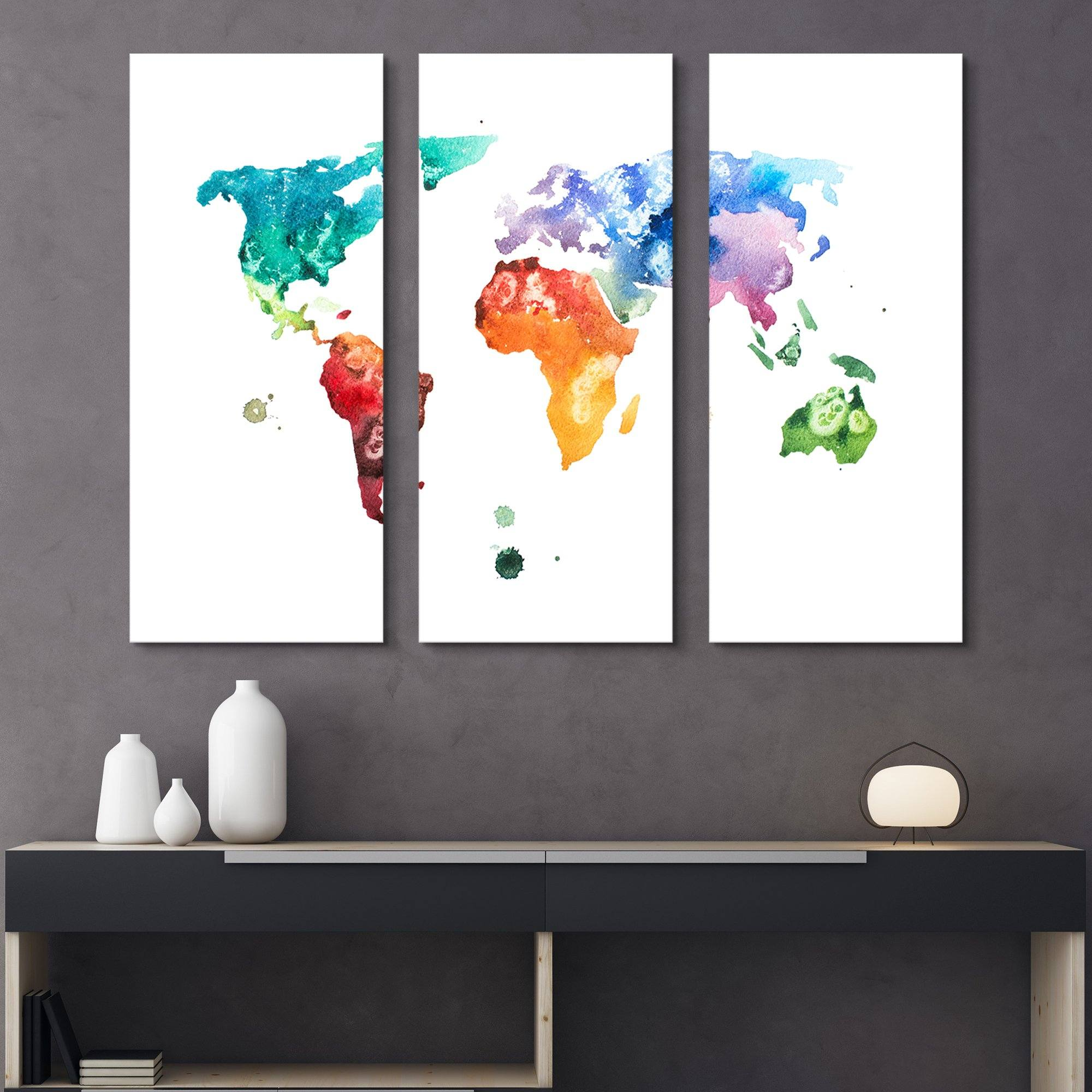 3 piece Watercolor World Map wall art