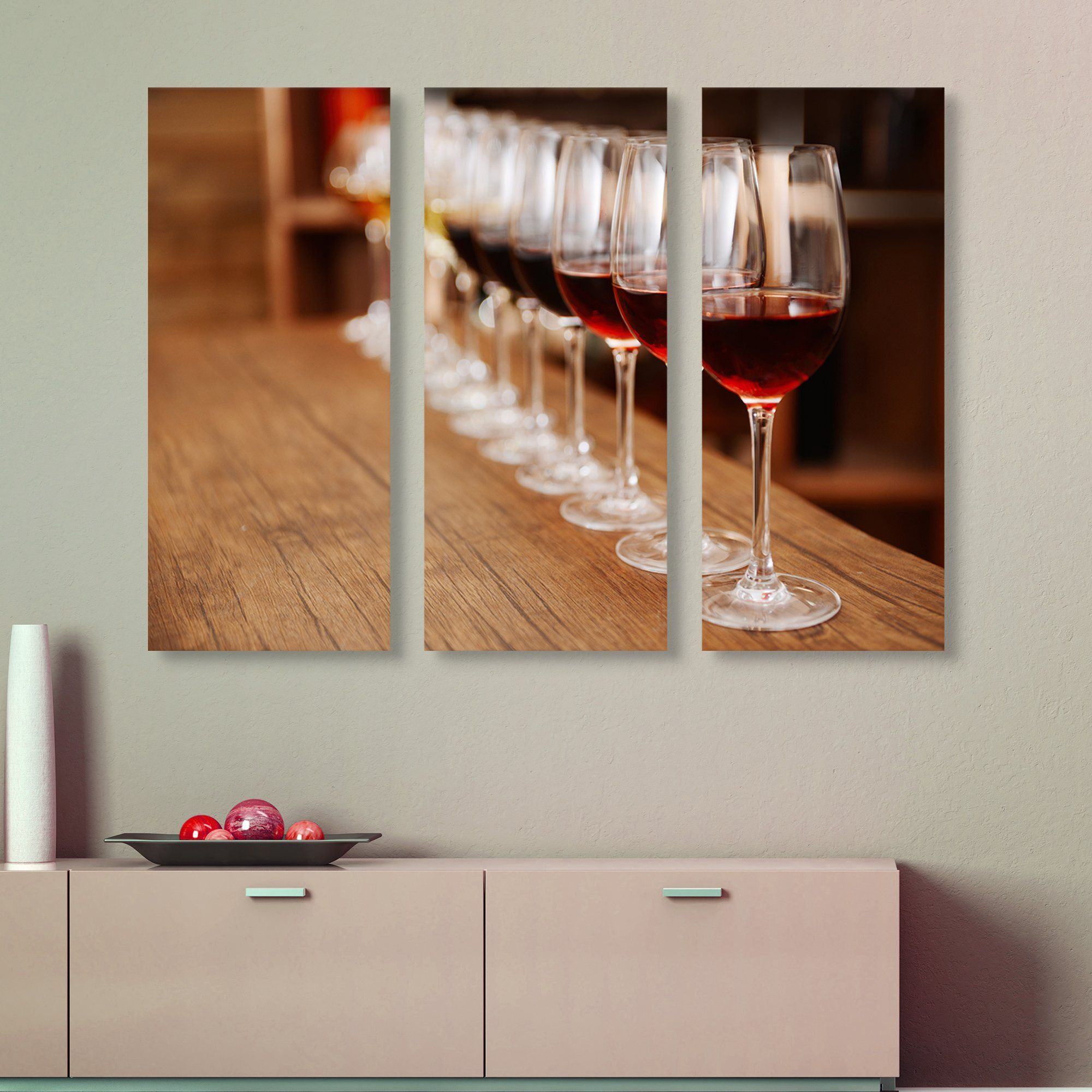 3 piece Wine in a Row wall art