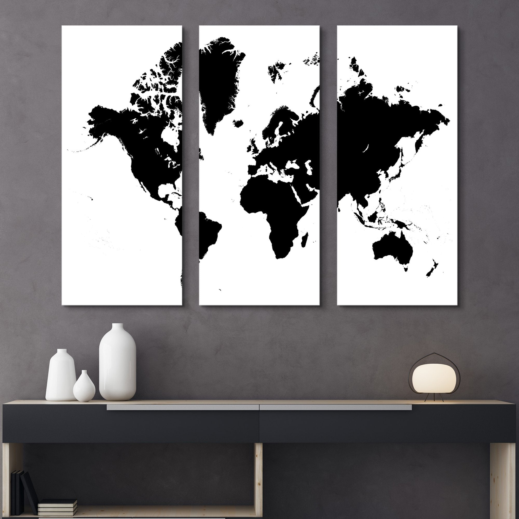 3 piece black and white world map wall art