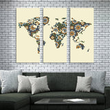 world map home wall art