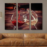 White and Red Wine Pouring wall art 3 piece