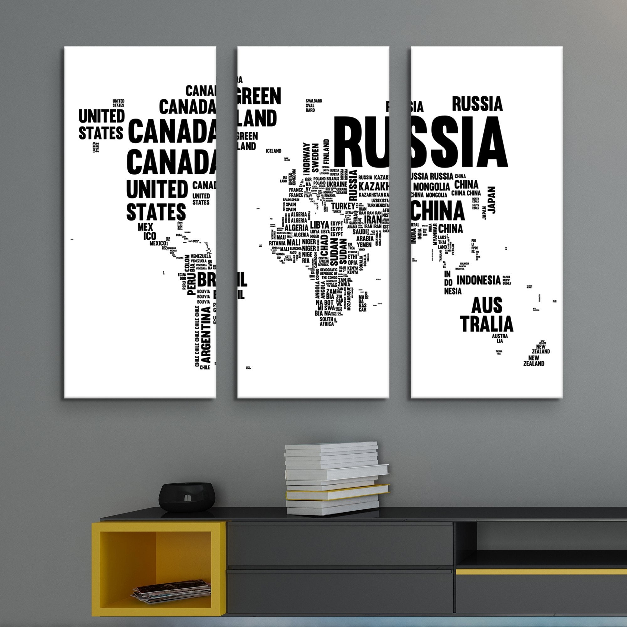 3 piece Typography World Map wall art
