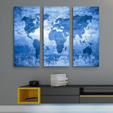 blue world map wall art