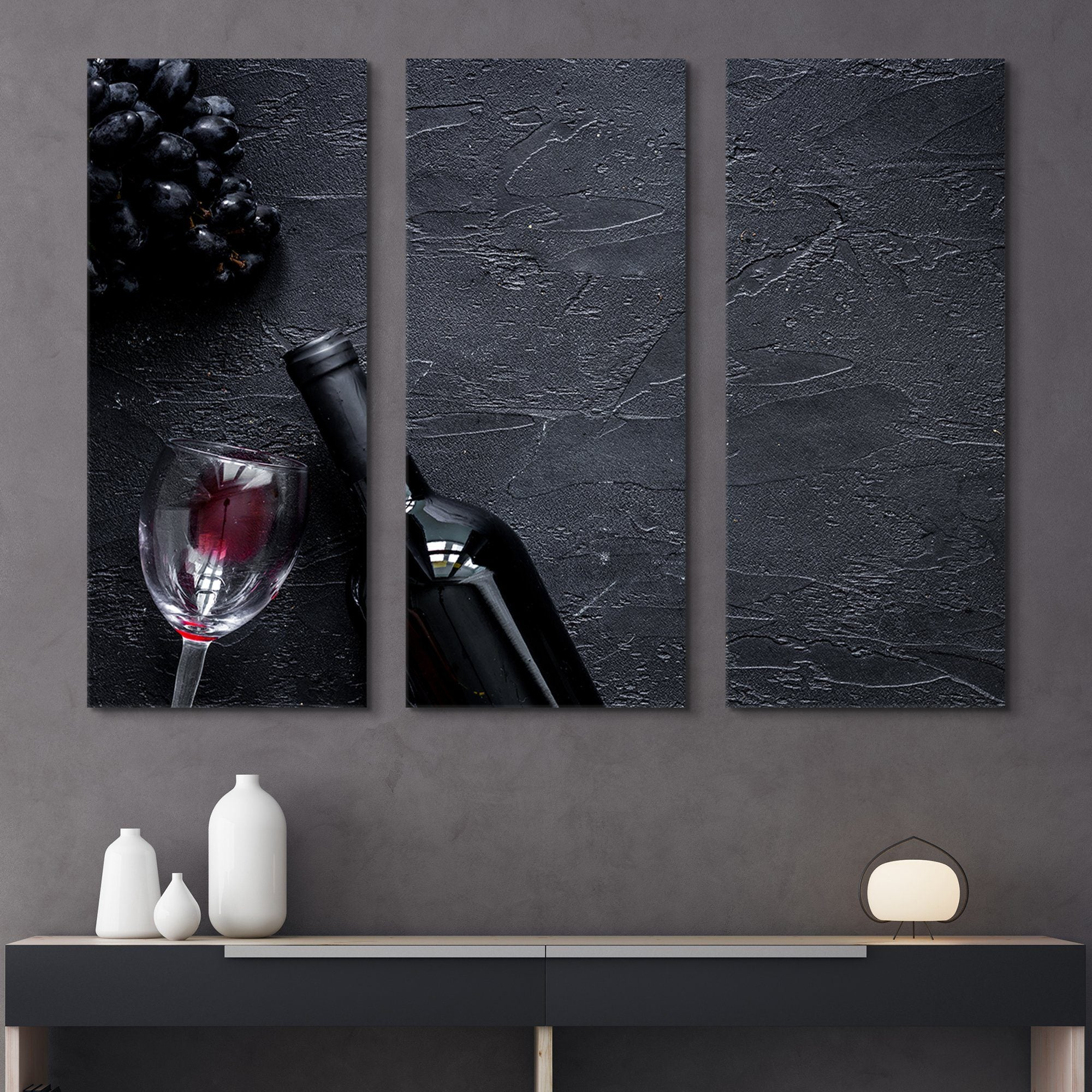 3 piece Red Wine wall art