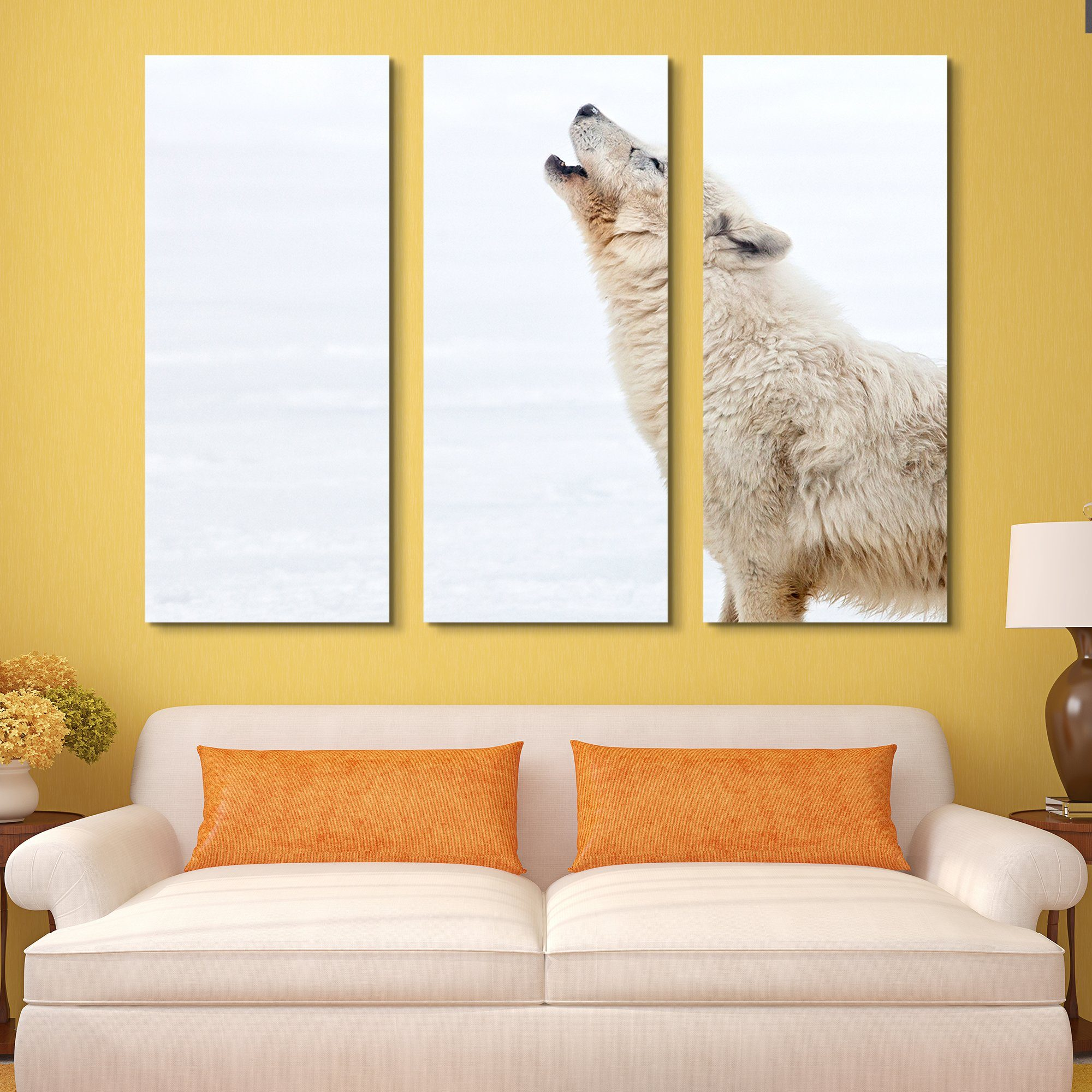 3 piece Arctic Wolf Howling wall art