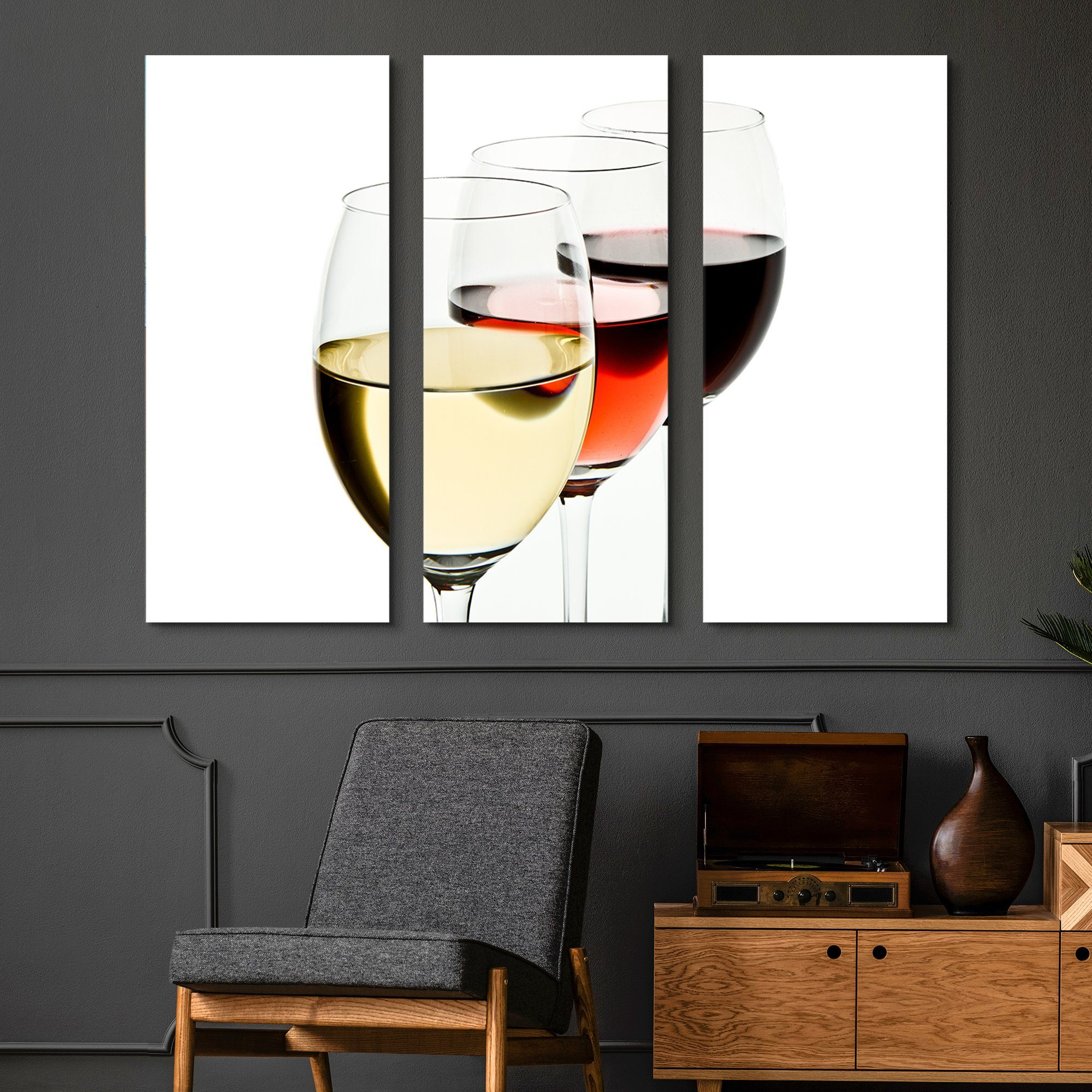 3 piece White, Rose, Red Wine wall art