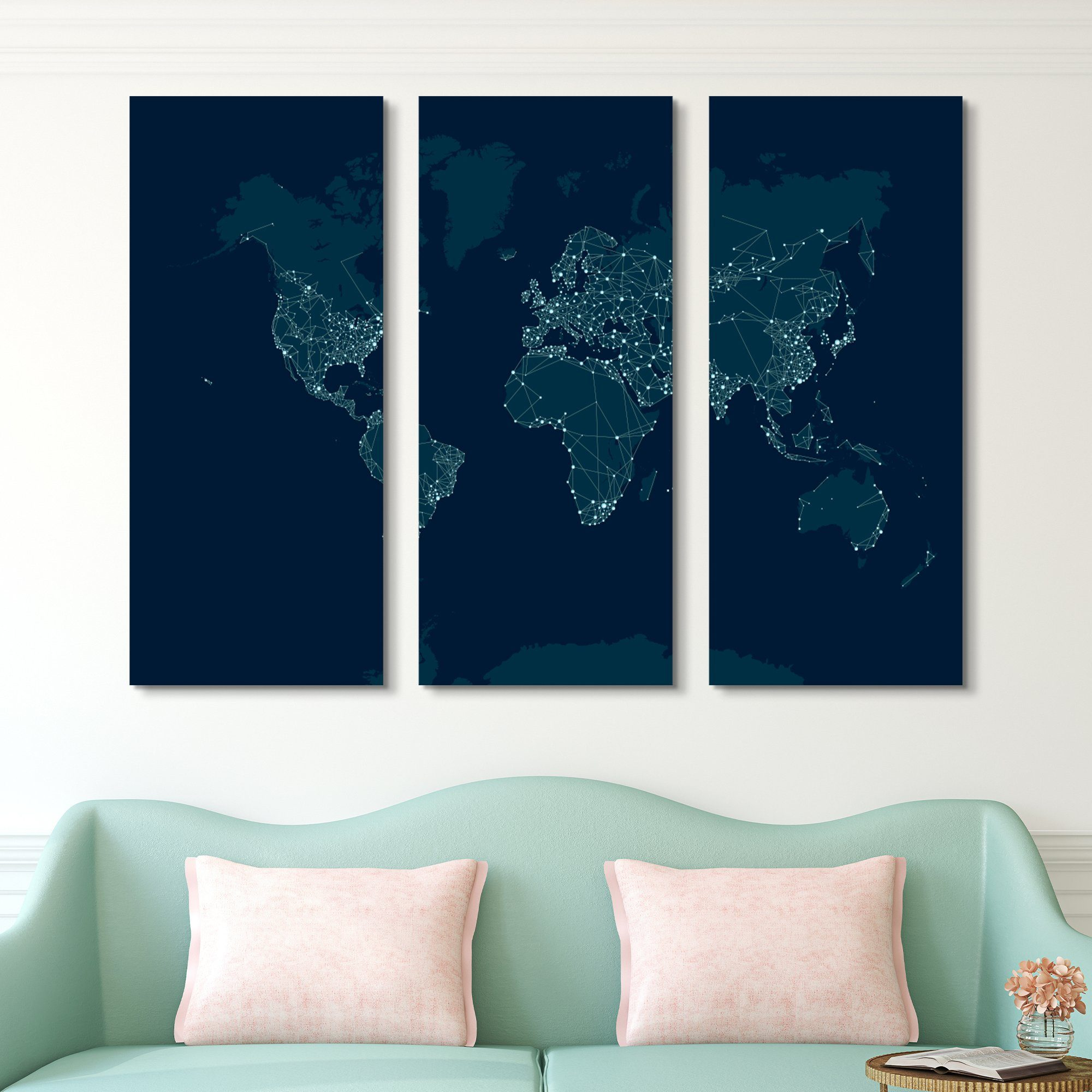 3 piece city lights world map wall art