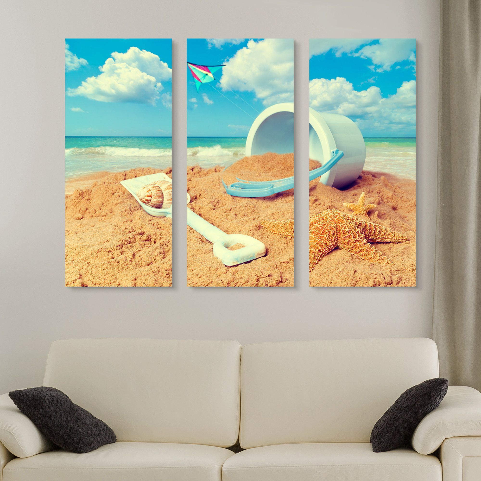 3 piece Playing with Beach Sand wall art