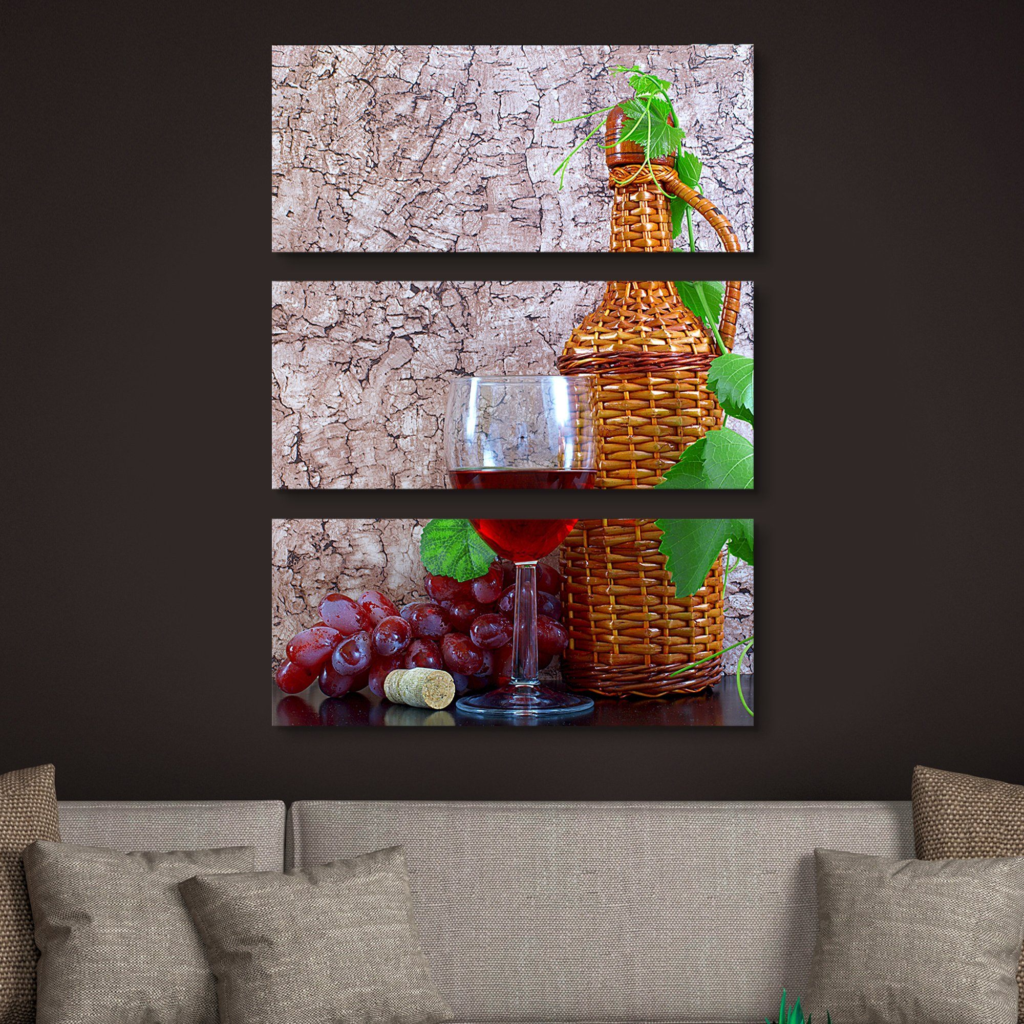 3 piece Wine and Vine wall art