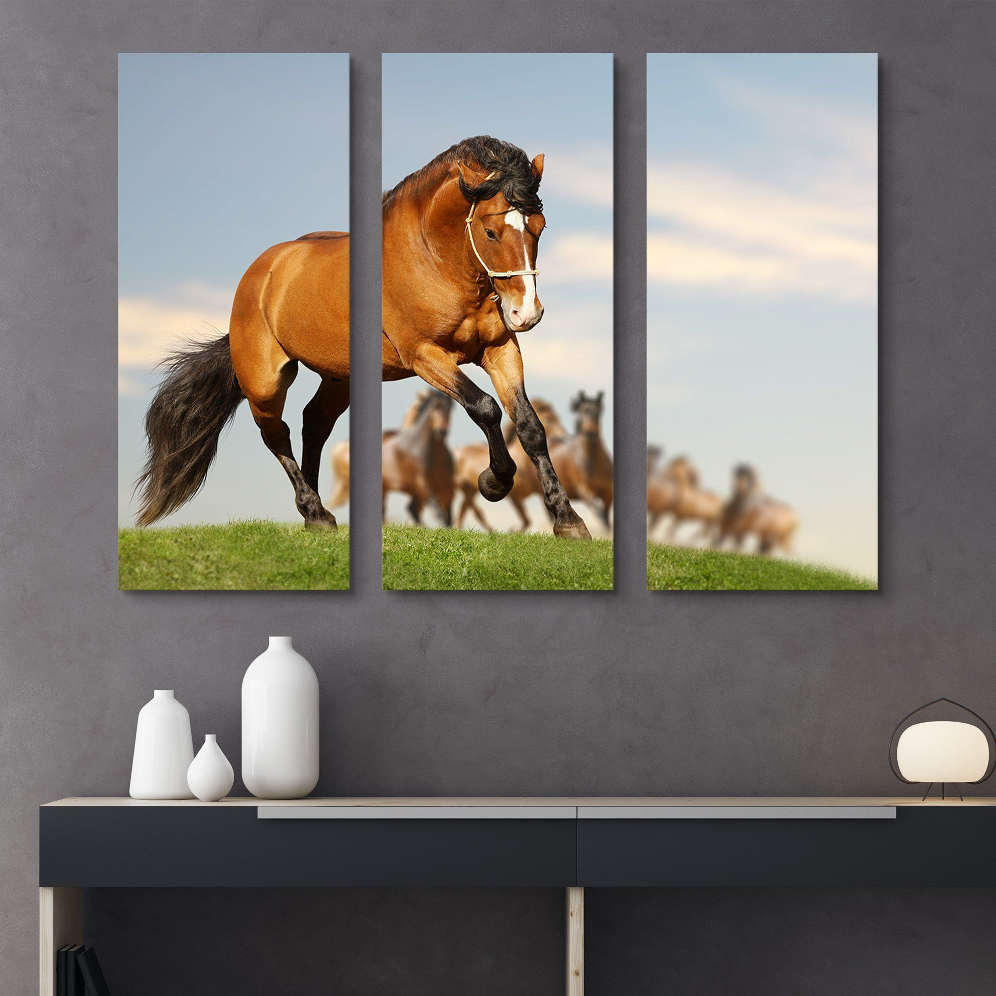 3 piece Stallion with the Herd wall art