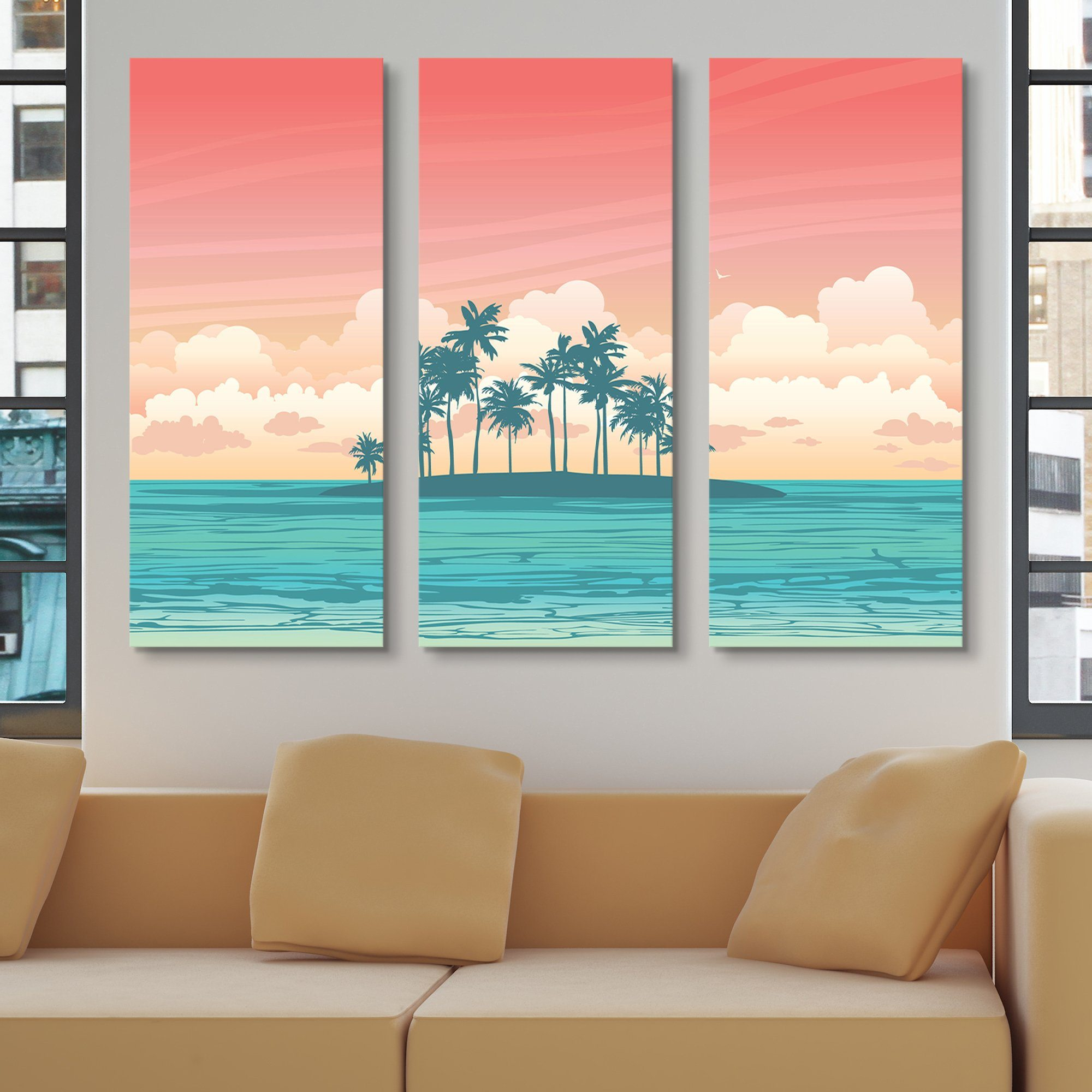 3 piece Tropical Island wall art