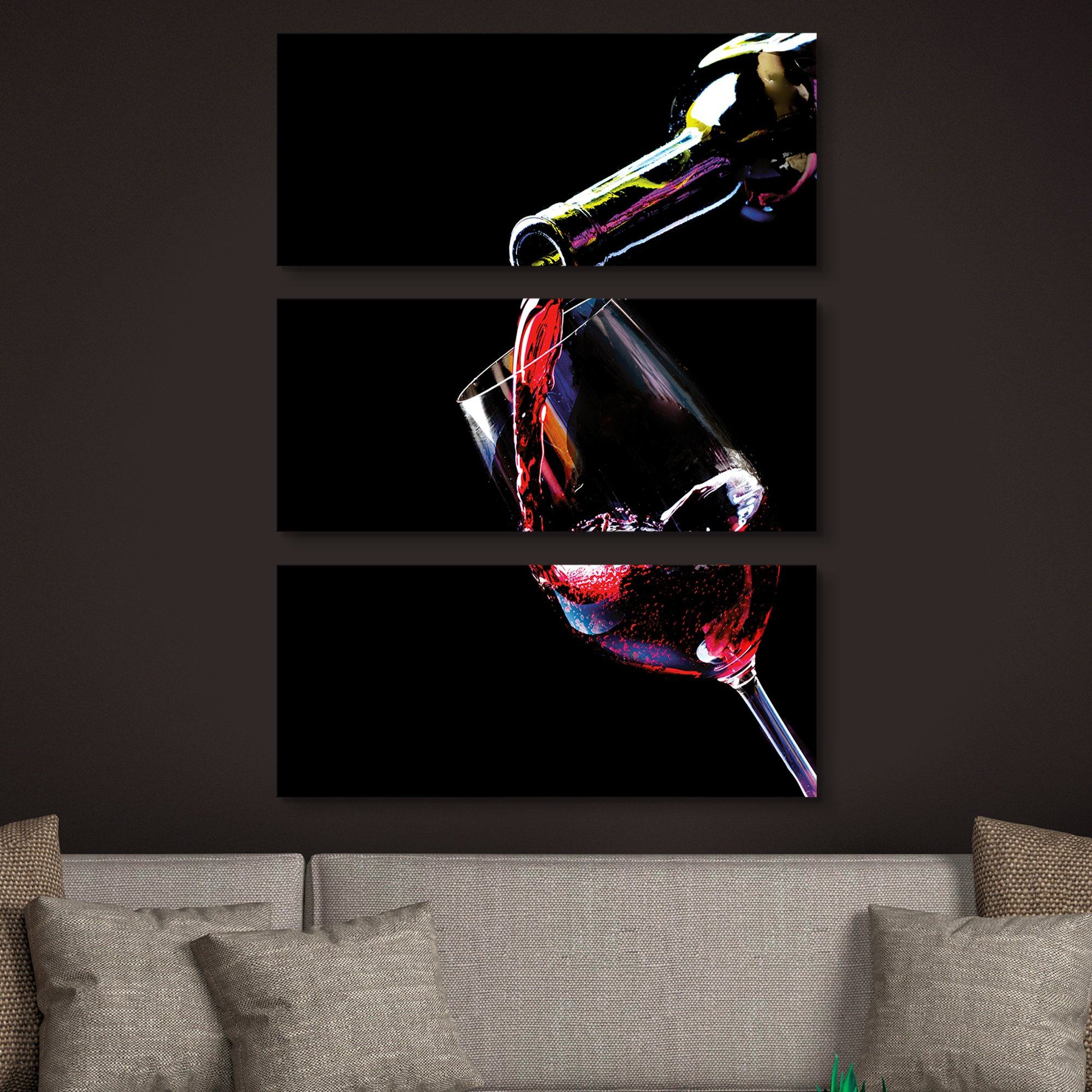 Red Wine Pouring 3 piece wall art
