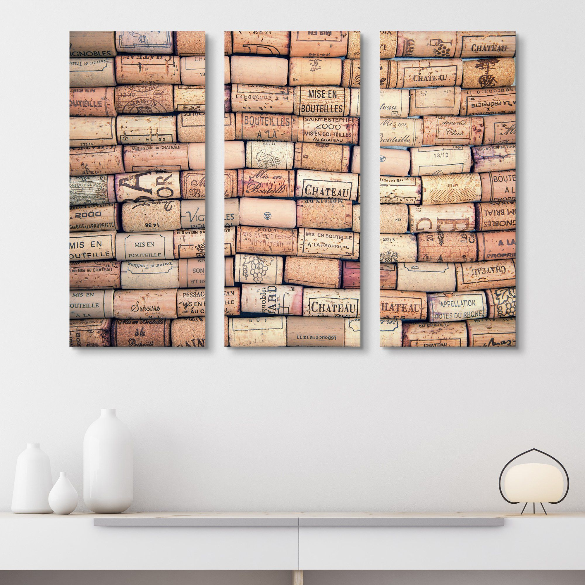 3 piece Antique Wine Corks wall art