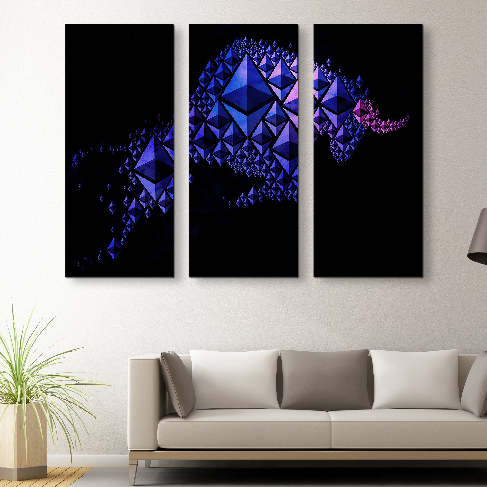 3 piece Ethereum Charging Bull wall art