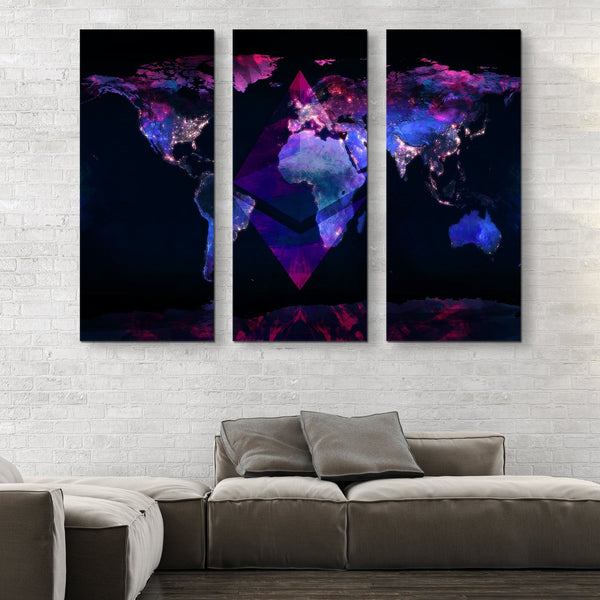 3 piece Ethereum Black Marble Series wall art