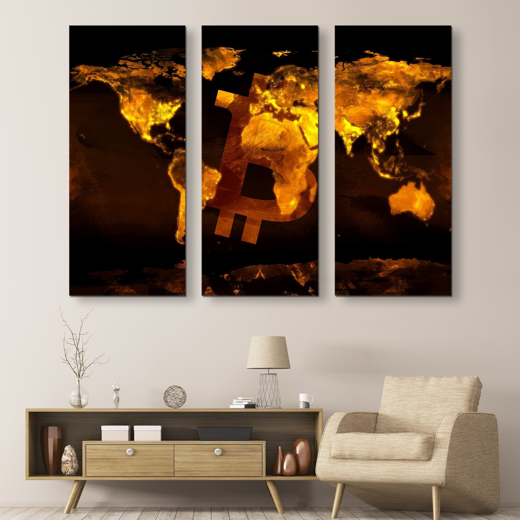 3 piece Bitcoin Black Marble Series wall art