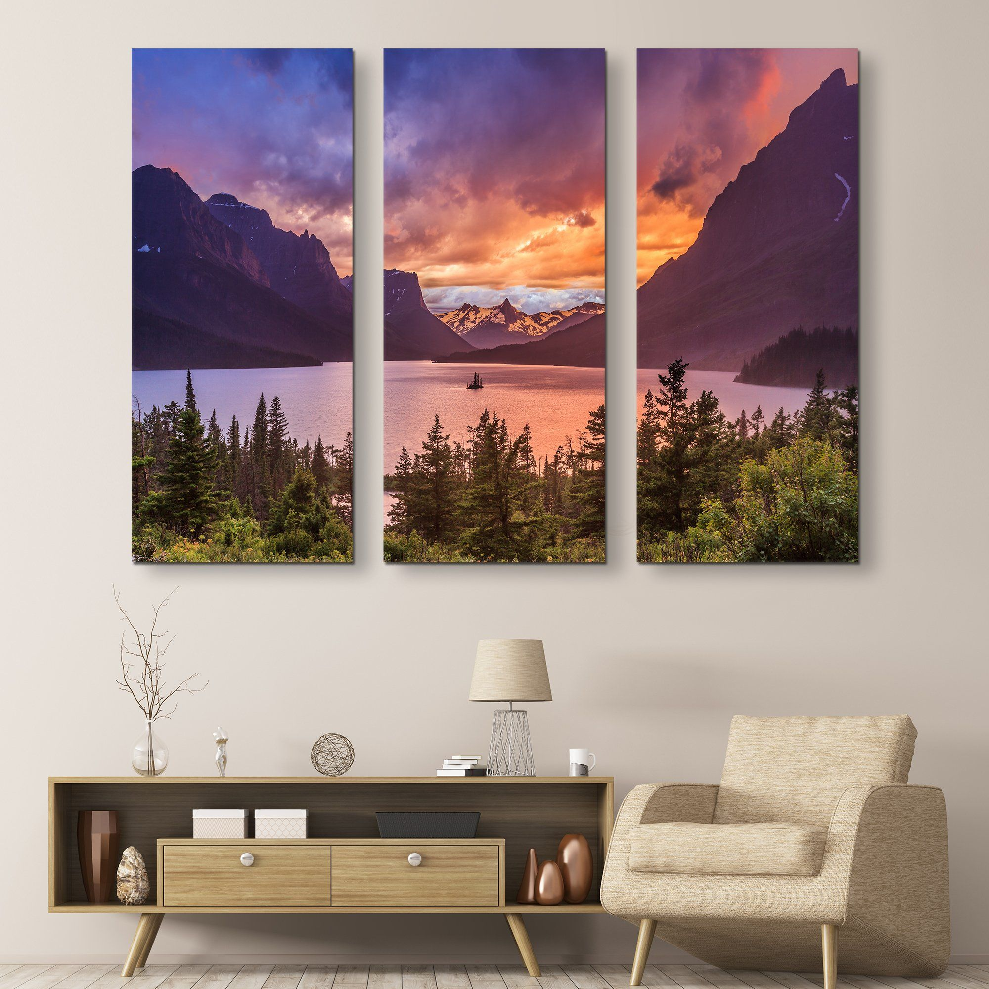 St Mary Lake wall art  3 piece