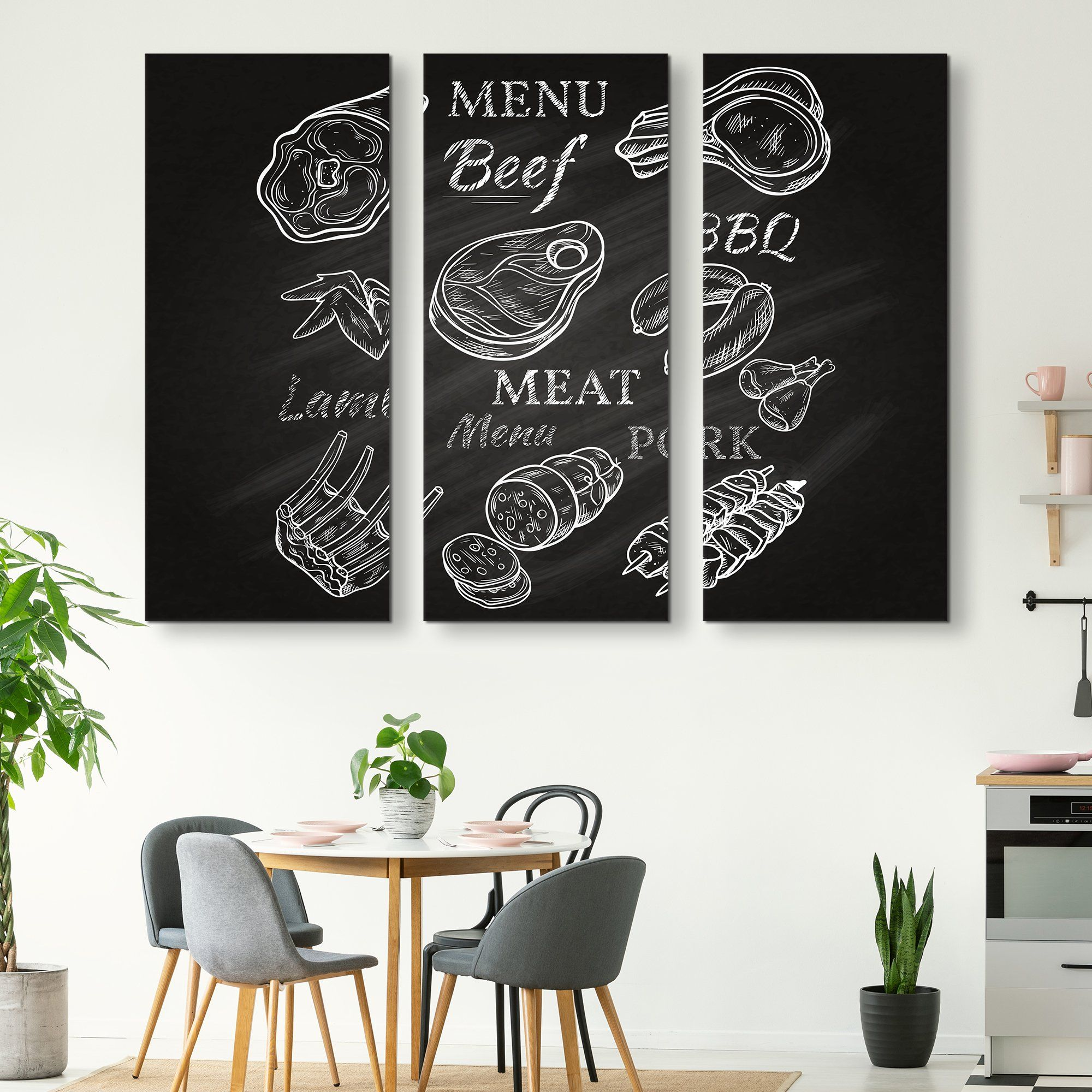 3 piece Menu wall art