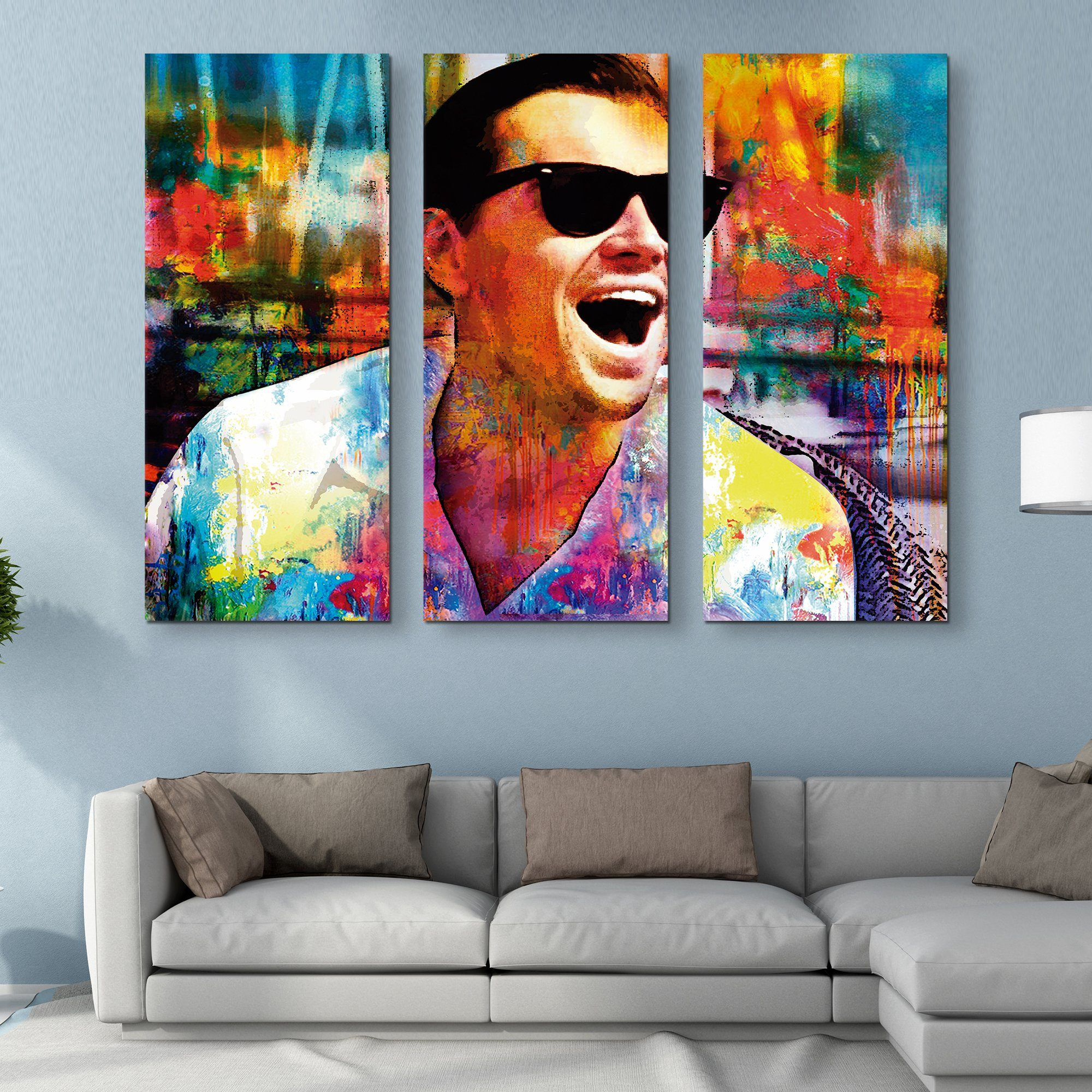 3 piece Laughing Leo wall art