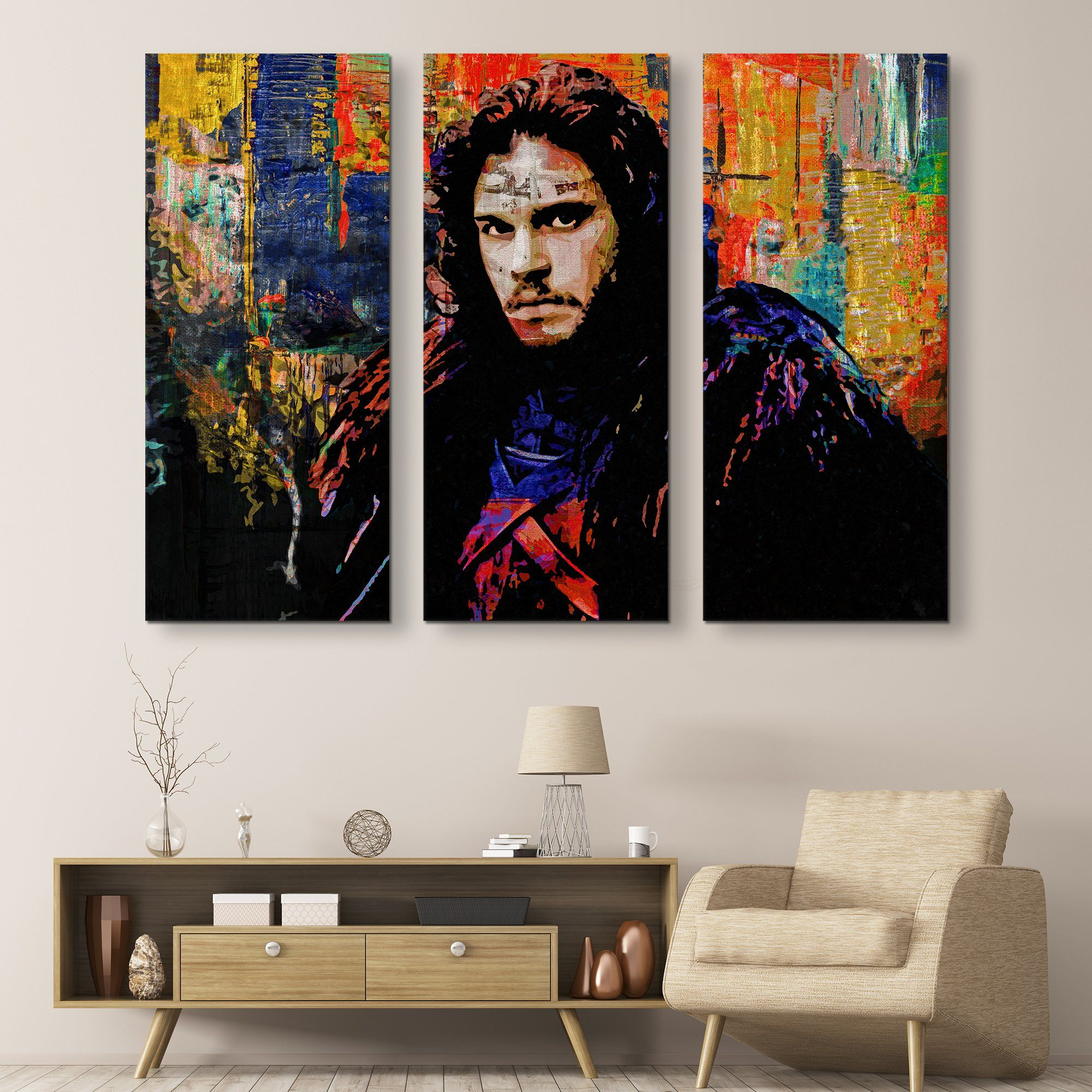 3 piece Jon Snow wall art