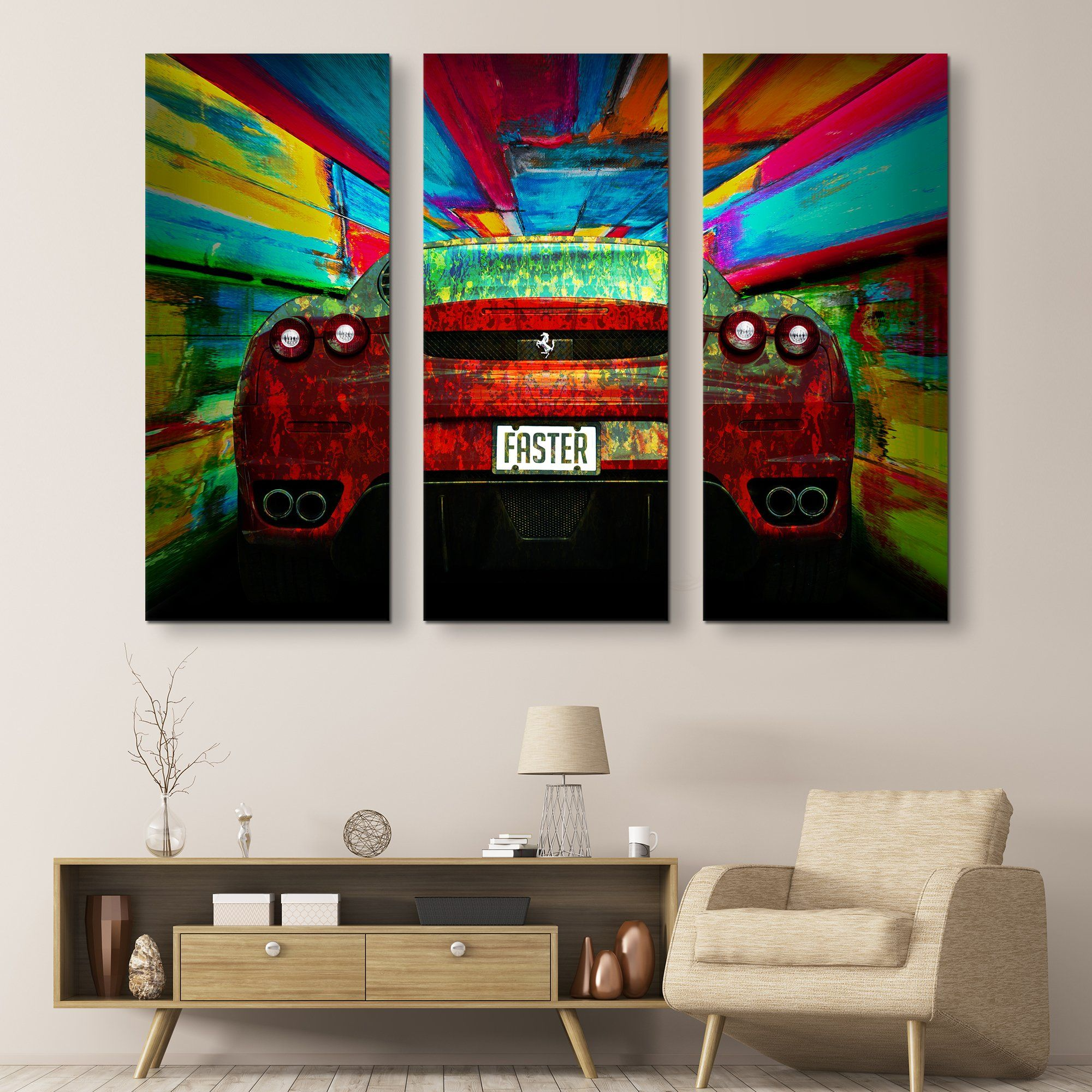 3 piece Ferrari - Faster wall art