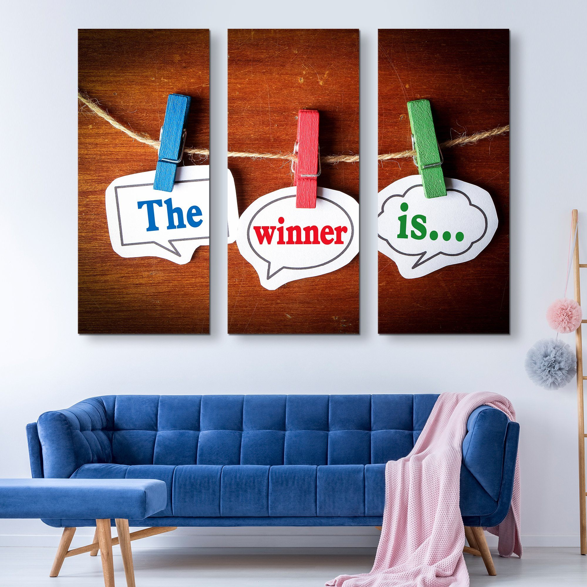 3 piece And the Winner is wall art
