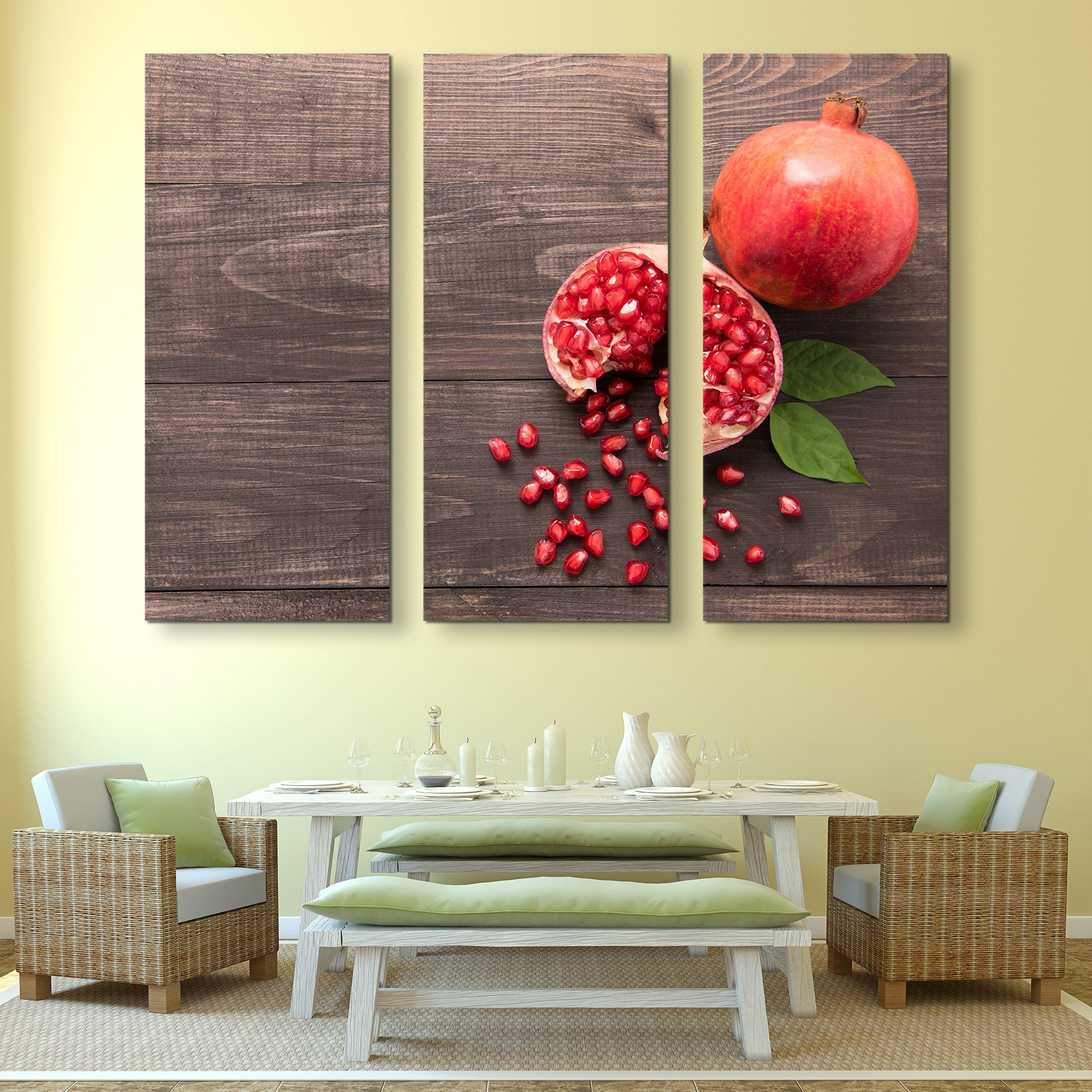 3 piece Pomegranate wall art
