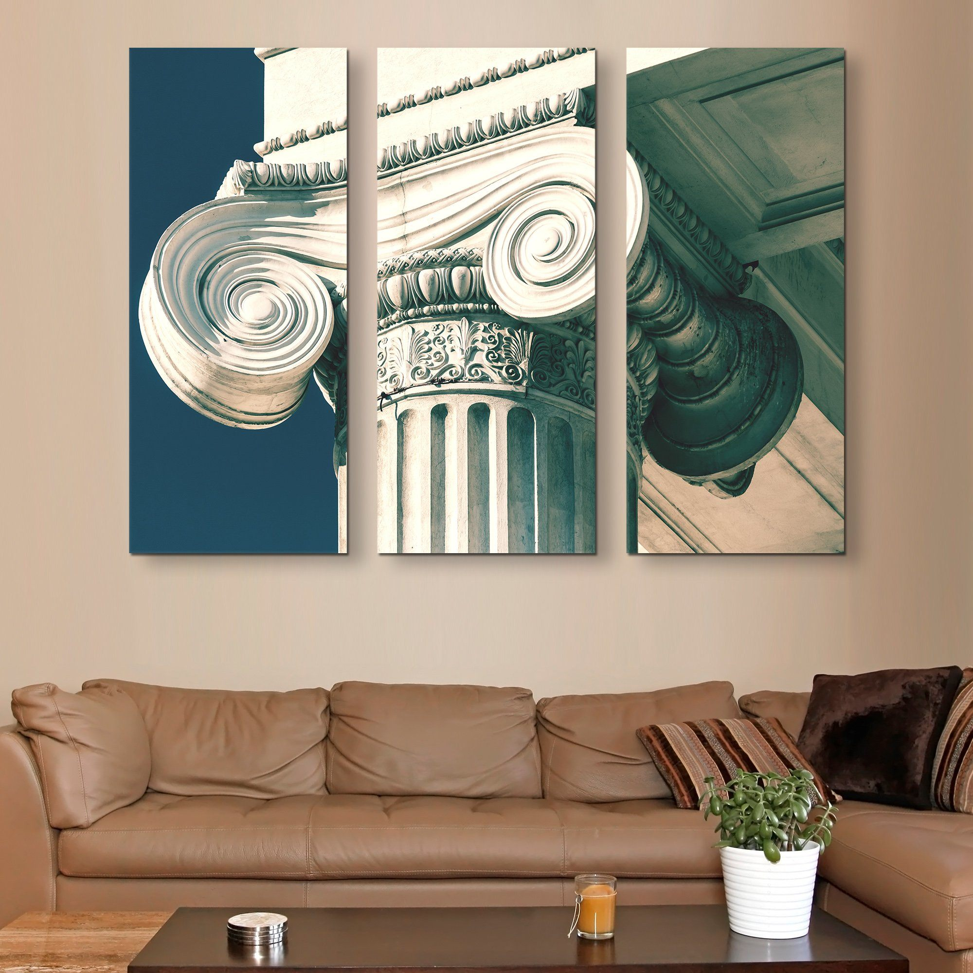 3 piece greek column wall art