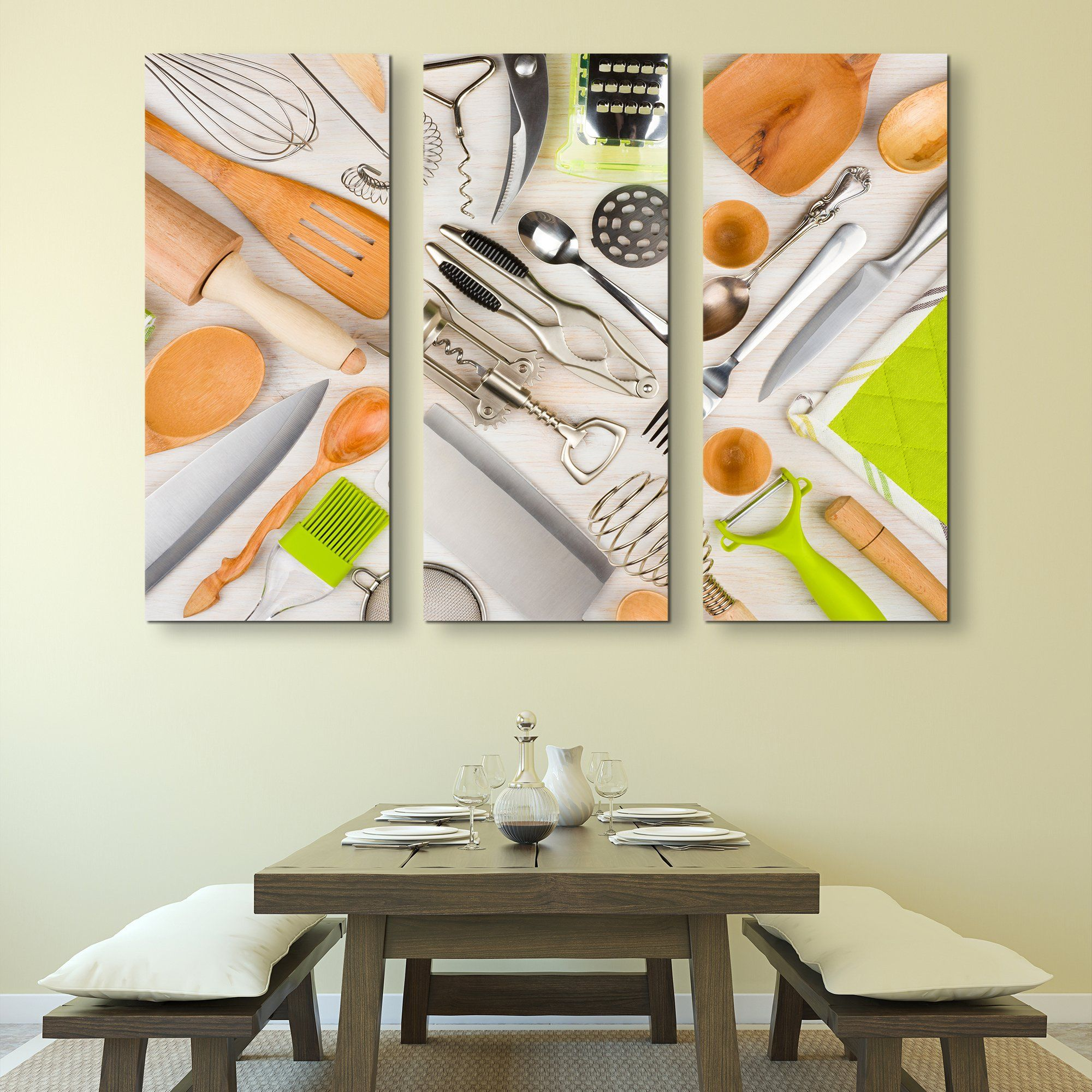 3 piece Kitchen Utensils wall art