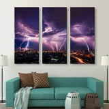 3 piece Lightning Storm Over City wall art