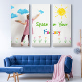 3 piece Kid's Space wall art